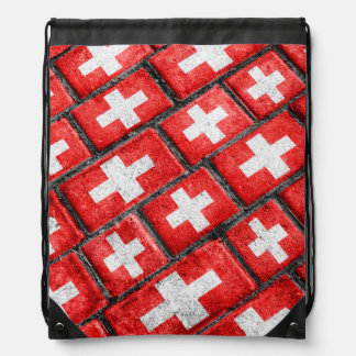 Switzerland Flag Urban Grunge Pattern Drawstring Backpack