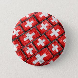 Switzerland Flag Urban Grunge Pattern Pinback Button