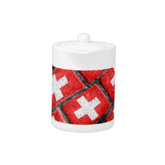 Switzerland Flag Urban Grunge Pattern Teapot