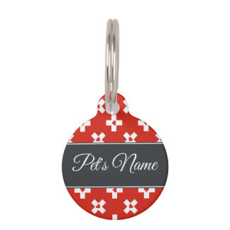 Switzerland Flag with  Heart pattern Pet Tag