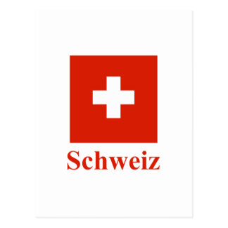 Switzerland Flag with Name in German Postcard