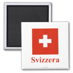 Switzerland Flag with Name in Italian 2 Inch Square Magnet