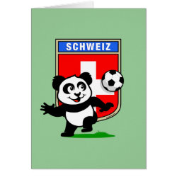 Greeting Card with Swiss Football Panda design