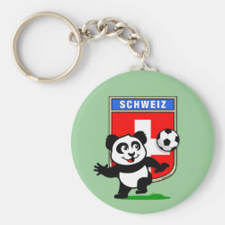 Basic Button Keychain with Swiss Football Panda design