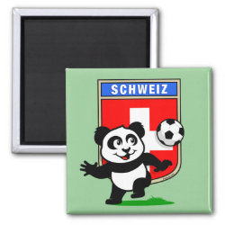 Swiss Football Panda Square Magnet