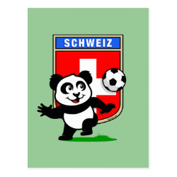 Postcard with Swiss Football Panda design