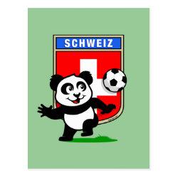 Postcard with Swiss Football Panda design