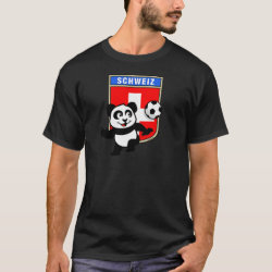 Men's Basic Dark T-Shirt with Swiss Football Panda design