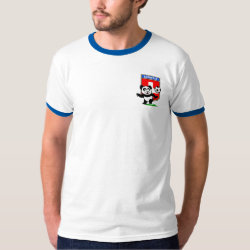 Men's Basic Ringer T-Shirt with Swiss Football Panda design