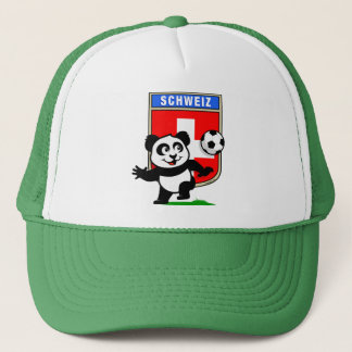 Switzerland Football Panda Trucker Hat