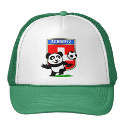 Swiss Football Panda Trucker Hat