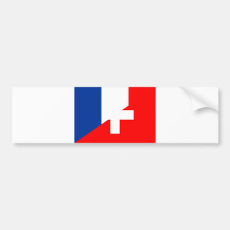 switzerland france flag country half symbol swiss bumper sticker