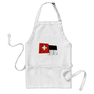 Switzerland & Fribourg Waving Flags Aprons