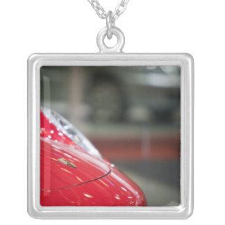 SWITZERLAND, GENEVA: 75th Annual Geneva Auto 2 Square Pendant Necklace