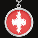 Switzerland Gnarly Flag Silver Plated Necklace