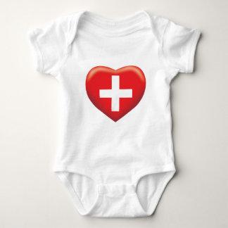 Switzerland Heart Baby Bodysuit