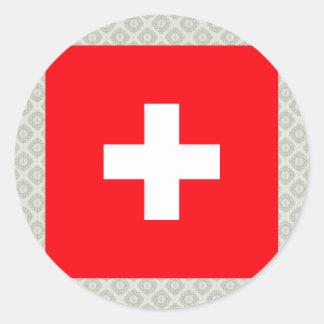 Switzerland High quality Flag Classic Round Sticker