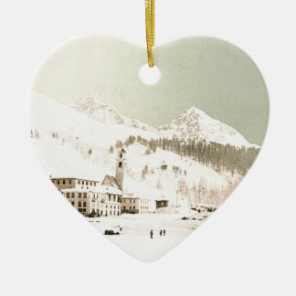 Switzerland in winter Double-Sided heart ceramic christmas ornament