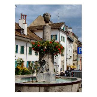 Switzerland, Lake Geneva, Nyon,  Fountain Postcard