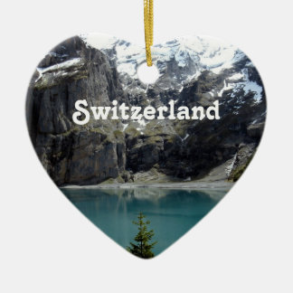 Switzerland Landscape Double-Sided Heart Ceramic Christmas Ornament