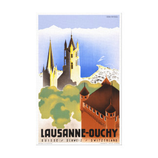 Switzerland Lausanne Ouchy Vintage Travel Poster Canvas Print