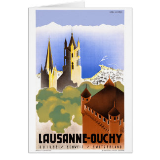 Switzerland Lausanne Ouchy Vintage Travel Poster Card