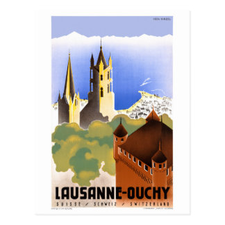 Switzerland Lausanne Ouchy Vintage Travel Poster Postcard
