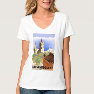 Switzerland Lausanne Ouchy Vintage Travel Poster T-Shirt