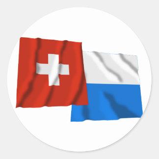 Switzerland Lucerne Waving Flags Stickers