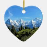 Switzerland Majestic Beautiful Mountains Double-Sided Heart Ceramic Christmas Ornament