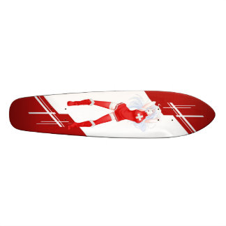 Switzerland Manga girl dressed in Flag - Swiss Skateboard