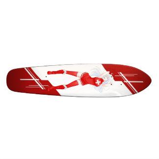 Switzerland Manga girl dressed in Flag - Swiss Skateboard Deck