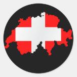 switzerland map and flag - sticker