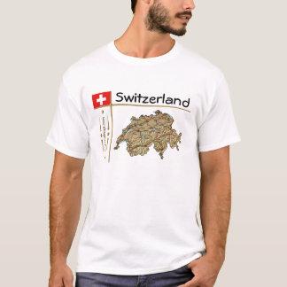 Switzerland Map + Flag + Title T-Shirt