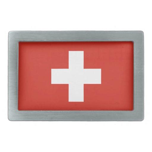 Switzerland National Flag Rectangular Belt Buckle