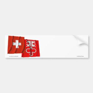 Switzerland & Nidwalden Waving Flags Bumper Stickers
