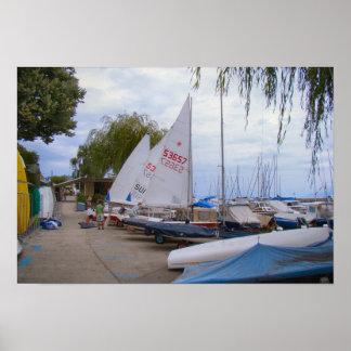 Switzerland, Nyon, Boats ready to race Poster
