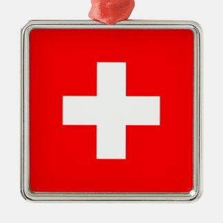 SWITZERLAND SQUARE METAL CHRISTMAS ORNAMENT