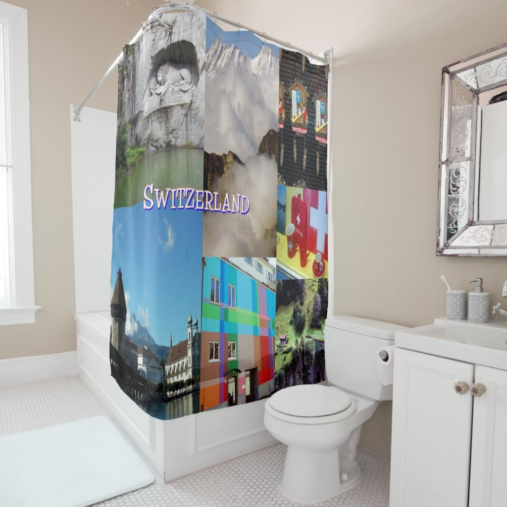 Switzerland Photo Collage Shower Curtain