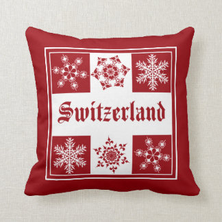 Switzerland Red and White Snowflakes Swiss Flag Pillow