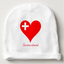 Switzerland red heart flag baby beanie