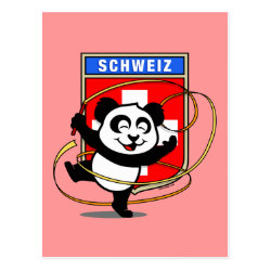 Postcard with Swiss Rhythmic Gymnastics Panda design