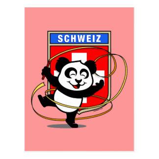 Switzerland Rhythmic Gymnastics Panda Postcard