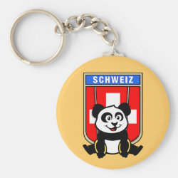 Basic Button Keychain with Swiss Rings Panda design