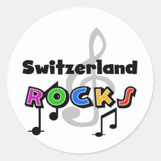 Switzerland Rocks Round Stickers