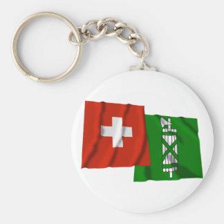 Switzerland & Sankt Gallen Waving Flags Basic Round Button Keychain
