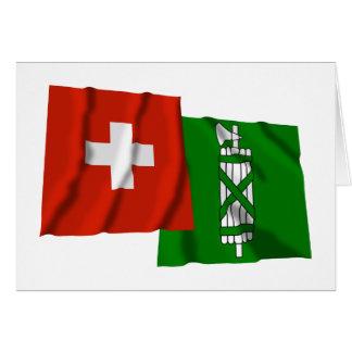 Switzerland & Sankt Gallen Waving Flags Card
