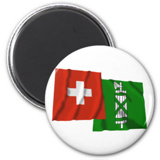 Switzerland & Sankt Gallen Waving Flags Fridge Magnet