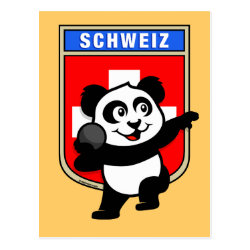 Swiss Shot Put Panda Postcard
