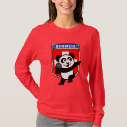 Women's Basic Long Sleeve T-Shirt with Swiss Shot Put Panda design